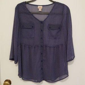 Mossimo 3/4 sleeve blue blouse